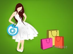 Beautiful dress wearing a girl with hold on hand bags and colourful shopping bags in shiny green background.