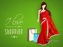 Stylish text of I Love Shopping with a lovely saari wearing a lady with shopping bags on shiny green background.