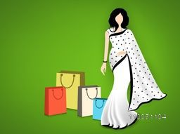 Stand a lady with wearing beautiful white saari and shopping bags on shiny green background.