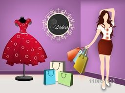 Stylish sticker, teg of Ladies with a standing girl hold on shopping bags and a stylish dress on dummy in boutique look background.