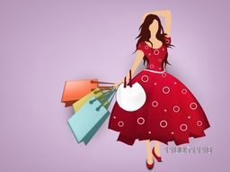 A girl wearing a stylish dress with hold on shopping bags and hand bag on light shiny purple background.