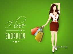 Stylish text of I Love Shopping with a lovely dress wearing a girl and hold on shopping bags on shiny green background.
