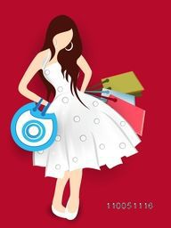 Beautiful dress wearing a girl with hold on colourful shopping bags in dark red background.