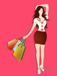 Stylish dress wearing a girl with hold on shopping bags on shiny pink color background.