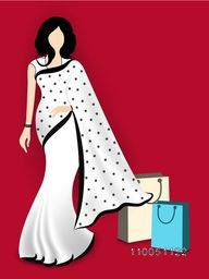 Stand a lady with wearing beautiful white saari and shopping bags on red background.
