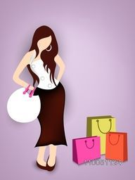 Beautiful girl standing with colourful shopping bag on light shiny purple background.