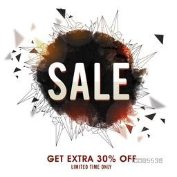 Sale Poster, Sale Banner, Sale Flyer, Get extra 30% Off for limited time, Creative abstract geometric background, Vector illustration.