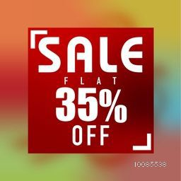 Sale Poster, Banner or Flyer design, Flat 35% Discount Offer, Colorful abstract typographic background, Creative vector illustration.