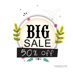Stylish Big Sale Poster, Banner, Flyer, Pamphlet with 50% Discount Offer, Can be used as Sticker, Tag or Label design.