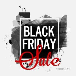 Creative Black Friday Sale Poster, Banner or Pamphlet with Abstract paint stroke and Shopping Bag.