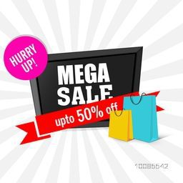 Mega Sale with Upto 50% Off, Creative Poster, Banner or Flyer design with illustration of glossy shopping bags on rays background.
