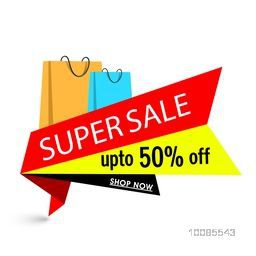 Super Sale with Upto 50% Off, Creative Paper Tag or Banner design with glossy shopping bags on white background.