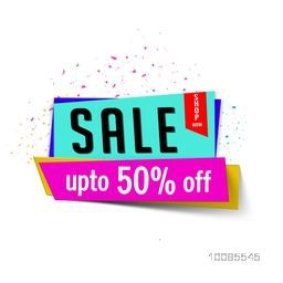 Creative shiny Paper Banner or Tag of Sale with Upto 50% Off, Stylish vector illustration.