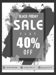Black Friday Sale with Flat 40% Off, Creative Poster, Banner or Flyer with abstract design.