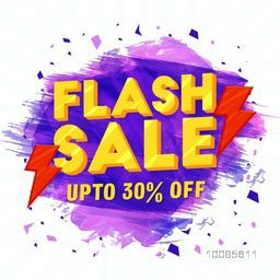 3D Flash Sale Typographical Background with purple paint stroke, Creative Poster, Banner or Flyer, Discount Upto 30% Off, Vector illustration.