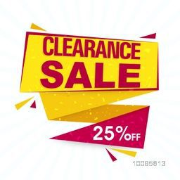 Creative Clearance Sale Paper Tag or Banner design with Flat 25% Off, Vector illustration.