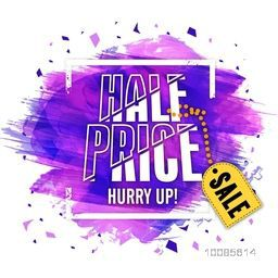Half Price Sale Poster, Banner or Flyer with purple abstract paint stroke. Vector illustration.