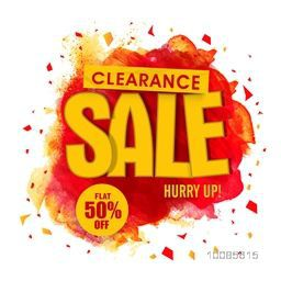 Clearance Sale Poster, Banner, Flyer or Pamphlet with Flat 50% Off, Vector illustration with abstract paint stroke.