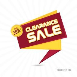 Clearance Sale Paper Tag or Banner design with Discount Upto 30% Off, Vector illustration.