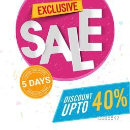Exclusive Sale Poster, Banner or Flyer design, Discount Upto 40% Off for Limited Time Only, Vector illustration.