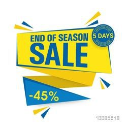 End of Season Sale, Paper Tag with Minus 45% Discount Offer for Limited Time Only, Vector Poster, Banner or Flyer design.