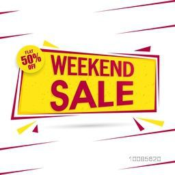 Weekend Sale with Flat 50% Off, Creative Paper Tag or Banner desing, Vector illustration.
