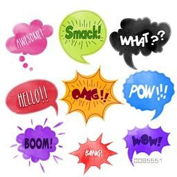 Creative comic speech bubbles set, Colorful comic sound effects in pop art explosion for different emotions, Vector illustration.