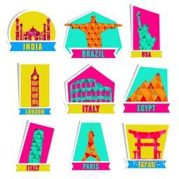 Set of colorful stickers,tags or labels design with illustration of famous monuments for Tour and Travels concept.