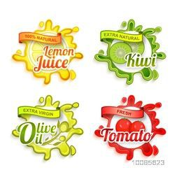 Creative Stickers of Natural Lemon Juice, Kiwi, Olive Oil and Tomato with splash, Fresh Fruits Typographic Labels, Tags or Badges set, Healthy Food concept, Vector illustration.