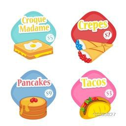 Creative Stickers, Colorful Labels or Price Tags set, Illustration of French Foods as Croque Monsieur or Croque Madame, Crepes, Pancakes and Tacos with price, Food and Drink concept.
