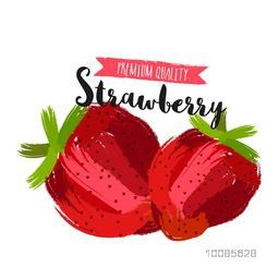 Premium Quality Strawberries made by abstract brush strokes on white background for Healthy Food concept, Can be used as Sticker, Tag or Label design also.