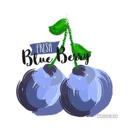 Fresh Blueberries made by watercolor brush stroke on white background, Hand Drawn vector illustration for Healthy Food concept, Can be used as Sticker, Tag or Label design also.