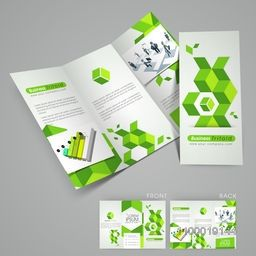 Professional trifold flyer, banner or template with green abstract design, 3D statistical bar or business people.