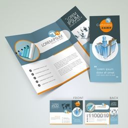 Stylish trifold flyer, banner, template or brochure design for architecture.
