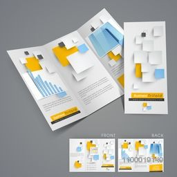 Professional business trifold flyer, banner or template with arrows statistical bar and building.