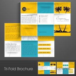 Stylish trifold, flyer, banner or template design for tour, travel and tourism.
