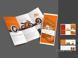 Creative stylish trifold flyer, banner or template design for Bike shop.