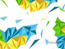 Colorful origami abstract design decorated white background.