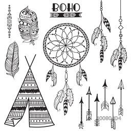 Set of creative ornamental Boho style Frame, Feathers, Arrows and Floral elements on grey background.