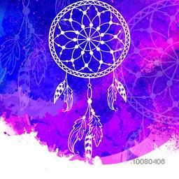 Creative Dream Catcher made by ethnic floral elements and feathers on color splash decorated background.