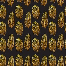 Creative seamless pattern with golden textured feathers in Boho Style.
