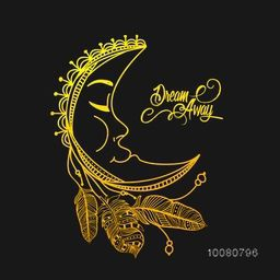 Golden crescent moon with feathers in Boho style. Creative doodle vector illustration for Invitation Card, Tattoo Design, Astrology and Magic symbol.