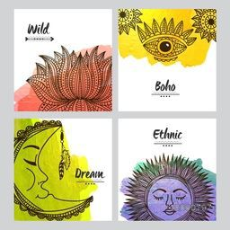 Set of greeting card design with ethnic Lotus Flower, Eye, Moon and Sun in Boho style. Creative doodle design illustration for Invitation, Tattoo and Magic symbols.