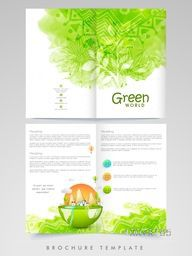 Creative Ecological Brochure, Template or Flyer presentation decorated with green color splash and floral design.