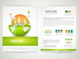Creative Brochure, Template or Flyer design with illustration of green city view for Nature and Ecology concept.