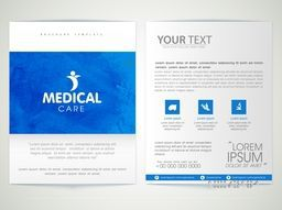 Professional Medical Care Brochure, Template or Flyer design with front and back side presentation.