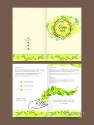 Stylish Nature Brochure, Flyer, Banner or Template design with fresh green leaves.