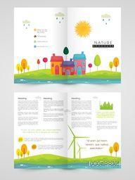 Creative Nature Brochure, Template or Flyer presentation with colorful buildings and trees.
