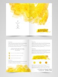 Creative Business Brochure, Template or Flyer design decorated with yellow color splash.