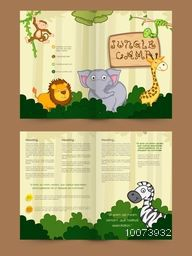 Creative Brochure, Template or Flyer design with cute animals for Jungle Camp.